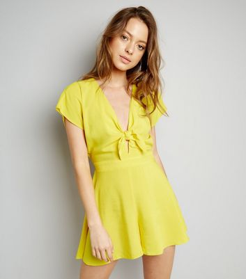 Yellow Tie Front Playsuit