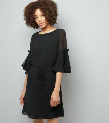 Black Chiffon Bow Bell Sleeve Tunic Dress