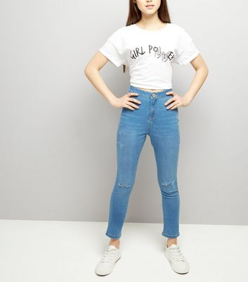 Teens Blue High Waist Ripped Knee Skinny Jeans