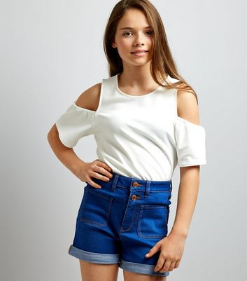 Teens Blue High Waist Pocket Front Denim Shorts
