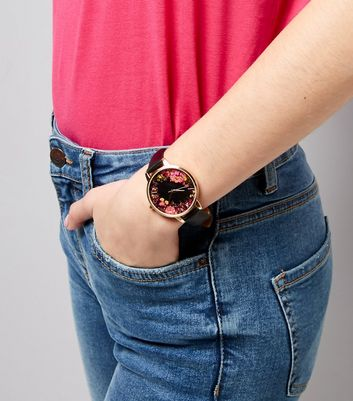 Black Floral Dial Watch