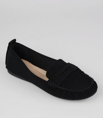 Wide Fit Black Comfort Loafers
