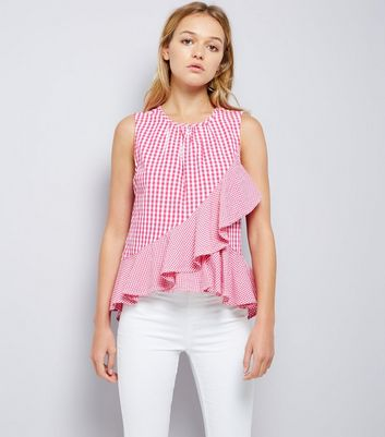 Pink Gingham Check Frill Trim Top
