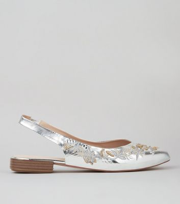 Silver Metallic Embroidered Sling Back Pumps