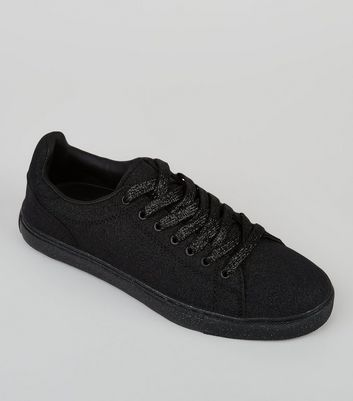 Black Glitter Trainers