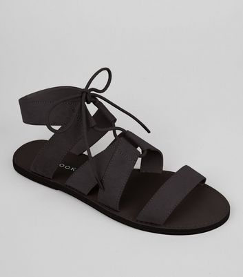 Black Suedette Lace Up Sandals