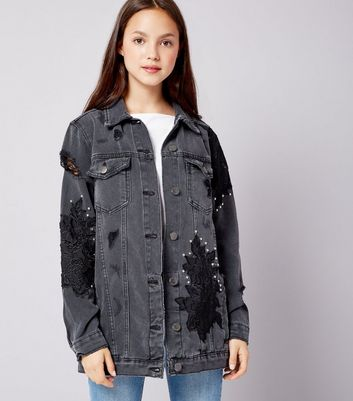 Teens Black Floral Applique Studded Denim Jacket