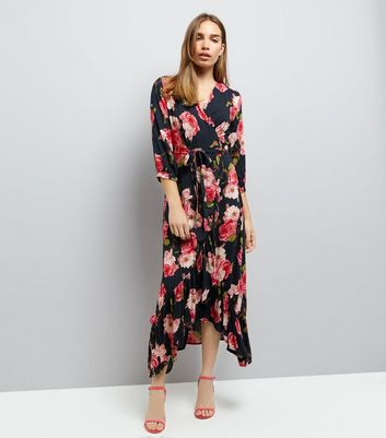 Blue Vanilla Red Rose Print Wrap Front Dress