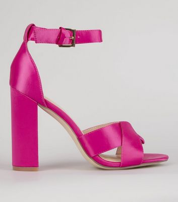 Pink Satin Cross Strap Block Heels