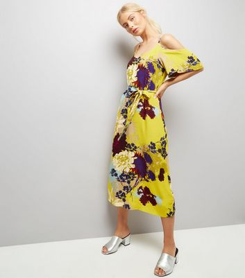 Tall Yellow Floral Cold Shoulder Midi Dress