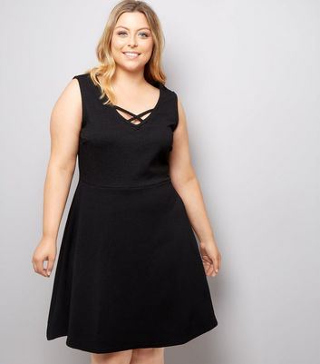 Curves Black Lattice Front Skater Dress