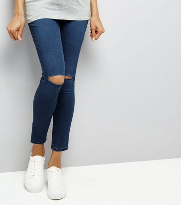 Maternity Blue Ripped Knee Over Bump Jeggings