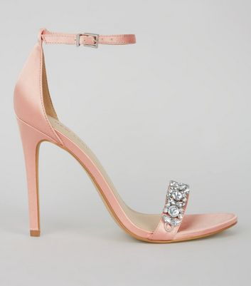 Pink Satin Crystal Embellished Heeled Sandals