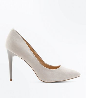 Grey Suedette Pointed Court Shoes