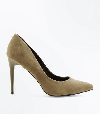 Khaki Suedette Pointed Court Shoes