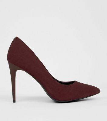 Dark Red Suedette Pointed Court Shoes