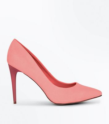 Coral Suedette Pointed Court Shoes