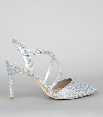 Silver Glitter Pointed Cross Strap Heels