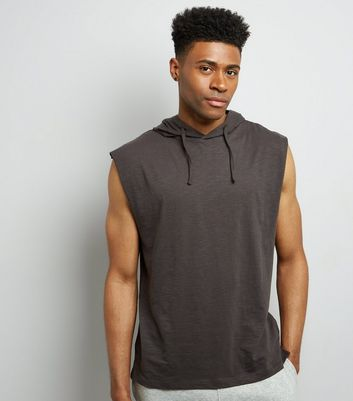 Dark Grey Sleeveless Hoodie