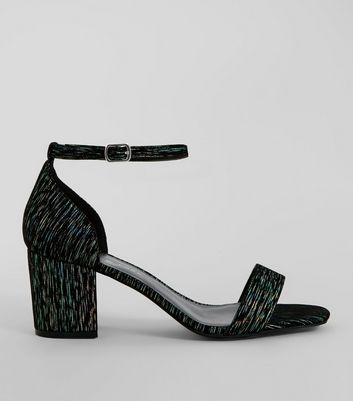 Black Iridescent Brocade Block Heel Sandals