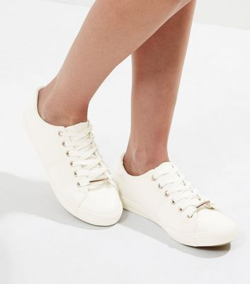 Wide Fit White Metal Trim Trainers