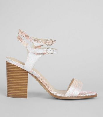 Wide Fit Pink Brocade Print Block Heels
