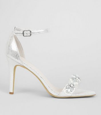 Silver Metallic Embellished Strap Heeled Sandals