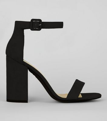 Black Suedette Barely There Block Heels | New Look