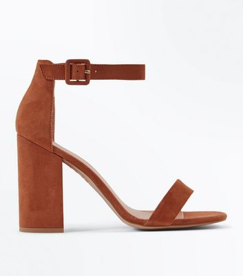 Tan Suedette Barely There Block Heels