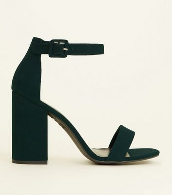Dark Green Suedette Barely There Block Heels