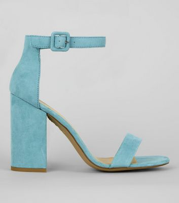 Pale Blue Ankle Strap Block Heels