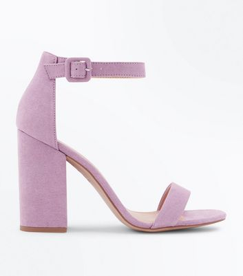 Lilac Suedette Barely There Block Heels