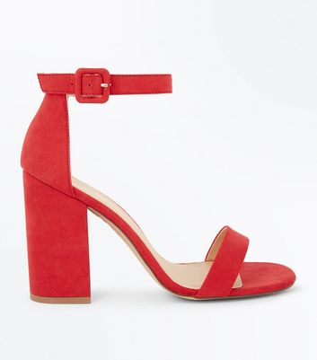 Red Ankle Strap Block Heels