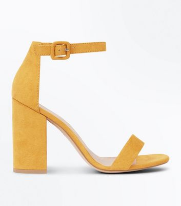 Mustard Yellow Ankle Strap Block Heels