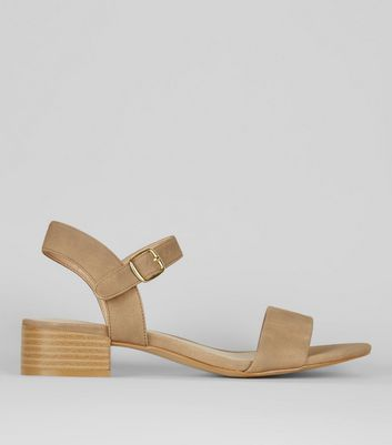Brown Ankle Strap Low Block Heel Sandals