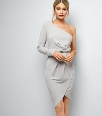 Mink Off the Shoulder Wrap Front Belted Bodycon Dress