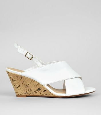 Wide Fit White Cork Wedge Heels
