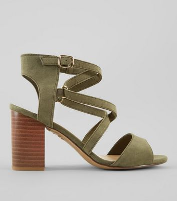 Wide Fit Khaki Suedette Cross Strap Heeled Sandals