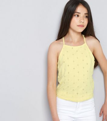Teens Yellow Broderie High Neck Cami