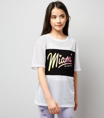 Teens White Mesh Miami Nights Applique T-Shirt