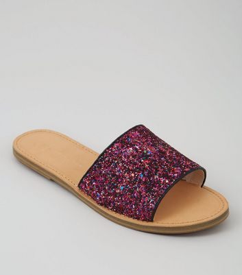 Wide Fit Pink Glitter Mules