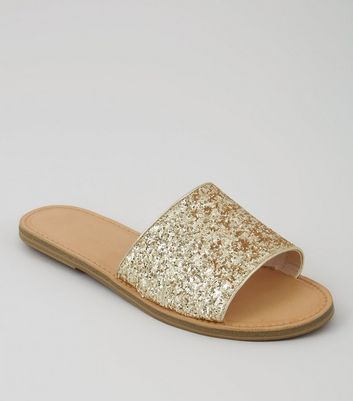 Wide Fit Gold Glitter Mules