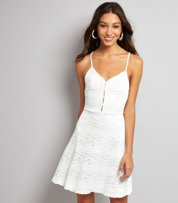 White Lace Button Front Skater Dress