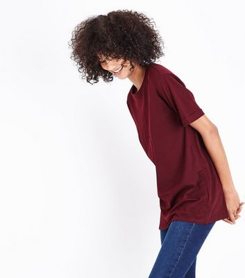 Tall – T-Shirt in Weinrot im Oversized-Look