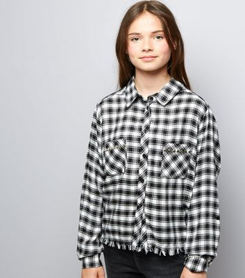 Teens Black Check Fray Hem Shirt