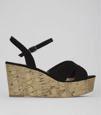 Wide Fit Black Cork Wedge Flatform Heels