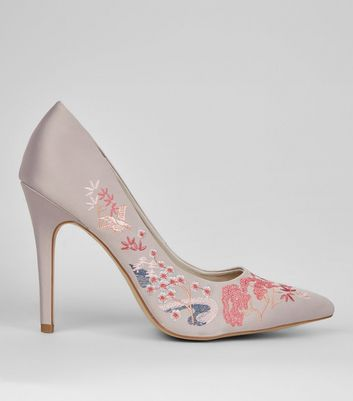 Wide Fit Grey Satin Embroidered Pointed Court Shoes