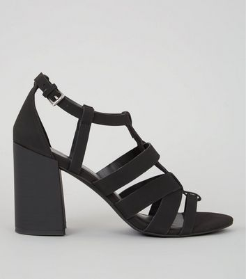 Black Gladiator Heeled Sandals