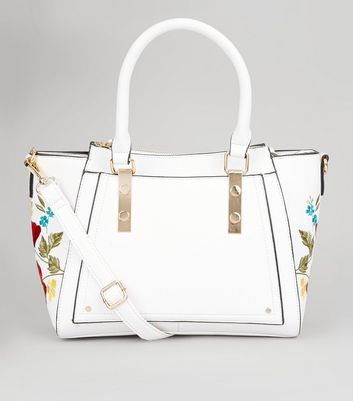 White Floral Embroidered Trim Bowler Bag