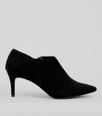 Black Suedette Pointed Heeled Shoe Boots